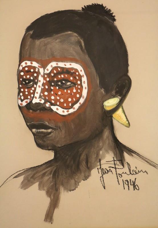 Jean POULAIN - Pittura - Tête africaine au maquillage tribal rouge et blanc