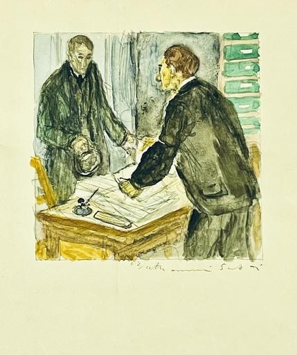Louis BERTHOMMÉ-SAINT-ANDRÉ - Disegno Acquarello - Scène d'interieur