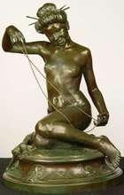 """Charles William AYTON - Sculpture-Volume - """"O-kiku-san"""" Madame Chrysantheme"""