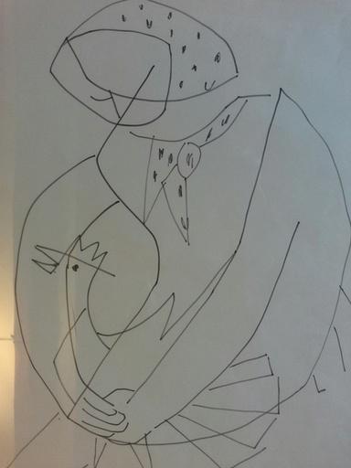 Francisco BORES - Drawing-Watercolor - LA FERMIERE ET LE COQ