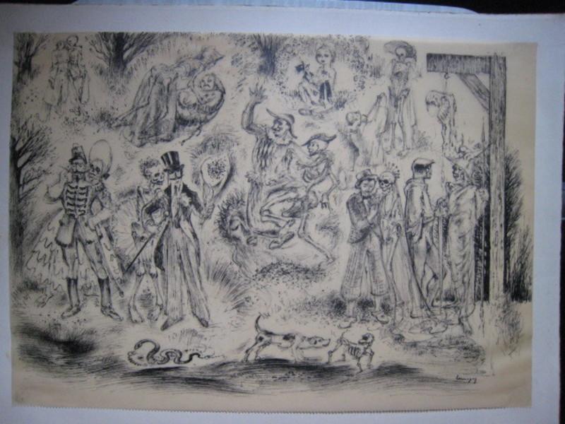 Paul LEMAGNY - Dibujo Acuarela - DANSE MACABRE
