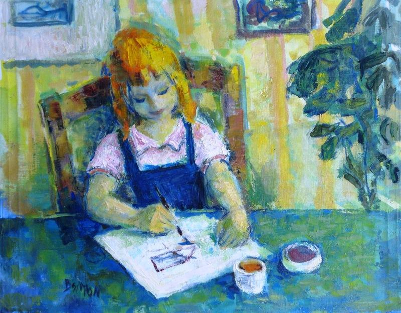 Boris SIMON - Painting - *Enfant Dessinit