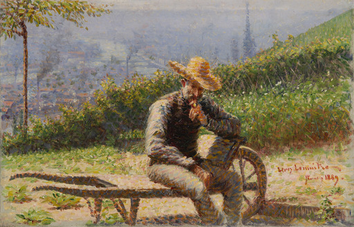 Léon Jules LEMAITRE - Peinture - Portrait présumé de Charles Angrand sur une brouette dans un