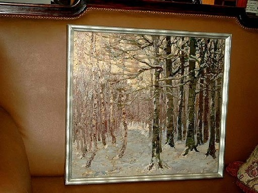 Otto MILLER-DIFLO - 绘画 - Schneebedeckter Wald im Abendlicht