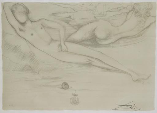 萨尔瓦多·达利 - 版画 - A la Plage from the Nudes Suite