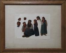 "Thomas ENDER - Pintura - ""Studies"", Oil on Paper, early 19th Century"