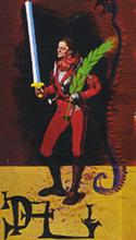 Salvador DALI - Zeichnung Aquarell - Page of Swords