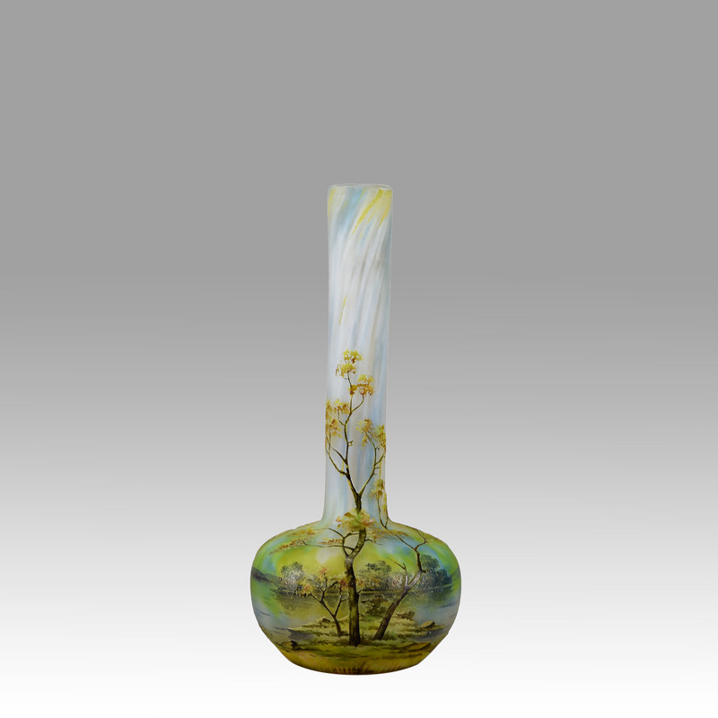 DAUM FRÈRES - Art Nouveau Cameo Glass 'Summer Landscape' Vase
