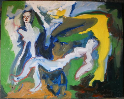 Bernard MOREL - Painting - PEINTRE ET MODELE