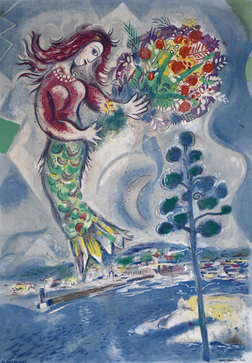 Marc CHAGALL - Stampa Multiplo - Siren with Pine, from: Nice and the Côte d'Azur | Sirène au