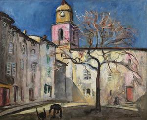 Charles CAMOIN - Pintura - Place de l'Ormeau, Saint-Tropez