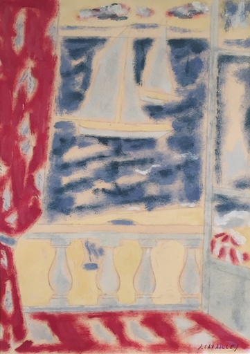 Jules CAVAILLES - Drawing-Watercolor - Les voiliers à Nice