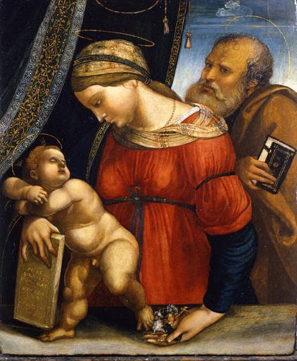Girolamo MARCHESI DA COTIGNOLA - Painting - Holy family