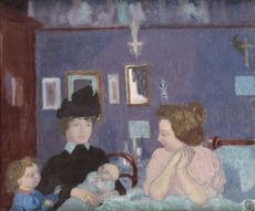 Maurice DENIS - Painting - Visite dans la chambre violette