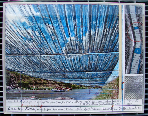 CHRISTO - Dessin-Aquarelle - Over the River