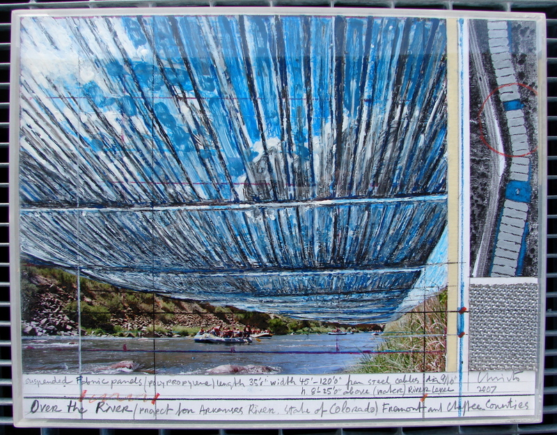 CHRISTO - Drawing-Watercolor - Over the River