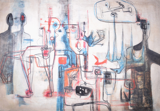 Rolando LOPEZ DIRUBE - Painting - Untitled (6+ Figures, Abstract Figuration)