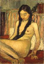 Auguste DUREL - Painting - Nu aux nattes brunes