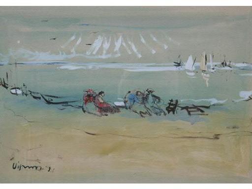Sylvain VIGNY - Disegno Acquarello -  LA PLAGE