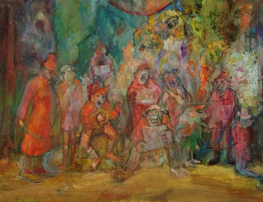 Tibor DENGYEL - Dessin-Aquarelle - L'orchestre des clowns