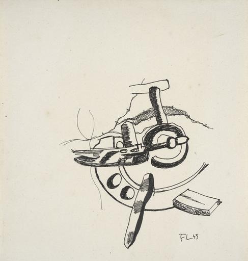 Fernand LÉGER - Dessin-Aquarelle - La roue brisée