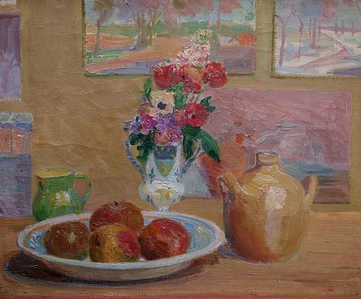 Hippolyte PETITJEAN - Painting - nature morte aux pommes