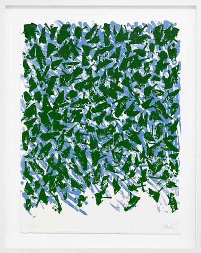 Günther UECKER - Grabado - Schwebend blau-grün