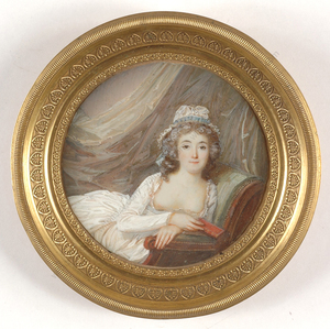 """Jean Antoine LAURENT - Miniatur - """"Beauty with bare breasts"""", important miniature on ivory!!,"""