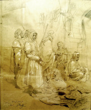 Giulio ROSATI - Drawing-Watercolor -  Scena orientalista
