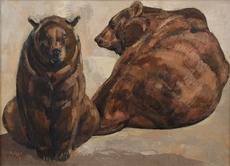 Paul JOUVE - Pintura - Deux ours bruns couchés
