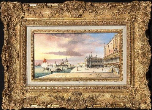Carlo GRUBACS - Painting - The Grand Canal With Basilica Santa Maria