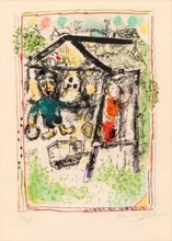 Marc CHAGALL - Estampe-Multiple - The artist at the village I