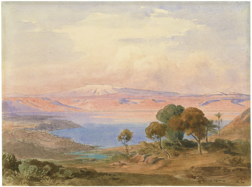 August LÖFFLER - Drawing-Watercolor - See Genezareth.