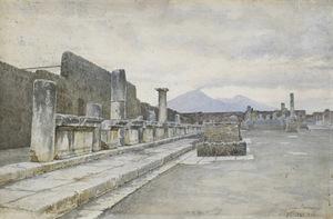 Luigi BAZZANI - Dibujo Acuarela - Il foro di Pompei
