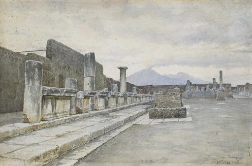 Luigi BAZZANI - Dessin-Aquarelle - Il foro di Pompei