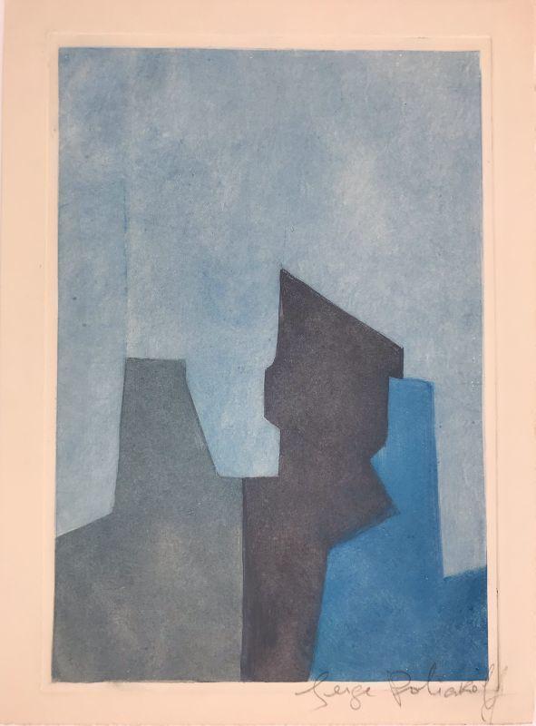 Serge POLIAKOFF - Estampe-Multiple - Composition bleue XXIV