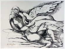 Ossip ZADKINE - Dessin-Aquarelle - Leda and the swan