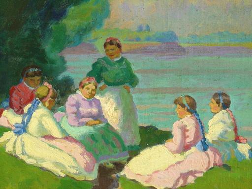 Sándor NYILASY - Gemälde - 6 Frauen im Gespräch