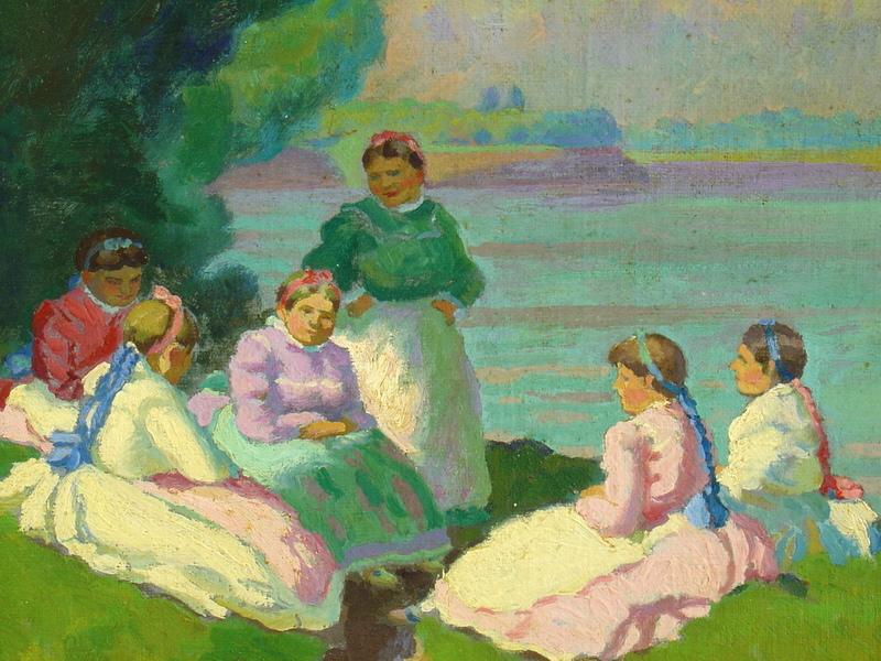 Sándor NYILASY - Pintura - 6 Frauen im Gespräch