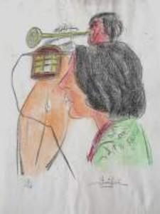Edgar STOEBEL - 版画 - Trompetiste