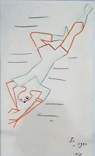 Jean COCTEAU - Dibujo Acuarela - Etude pour une illustration de l'Aigle à deux têtes
