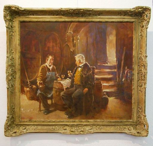 Hermann SCHMIDTMANN - Pintura - Die Weinprobe