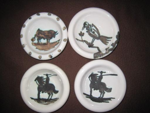 Pablo PICASSO - Ceramiche - 4 CENDRIERS