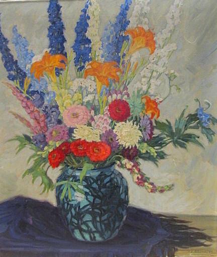 Carl BLUM - Painting - Sommerlicher Blumenstrauß.