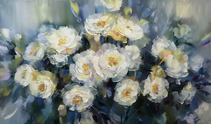 Alexander SERGEEV - Painting - Pearl necklace White Flowers