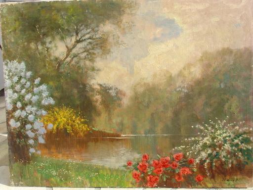 Ferenc OLGYAY - Pintura - Blühendes Seeufer