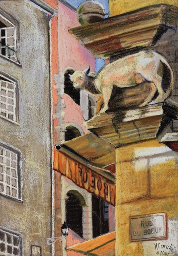 R.CAVALIÉ - Dessin-Aquarelle - Lyon. Le bœuf de la rue du Bœuf.