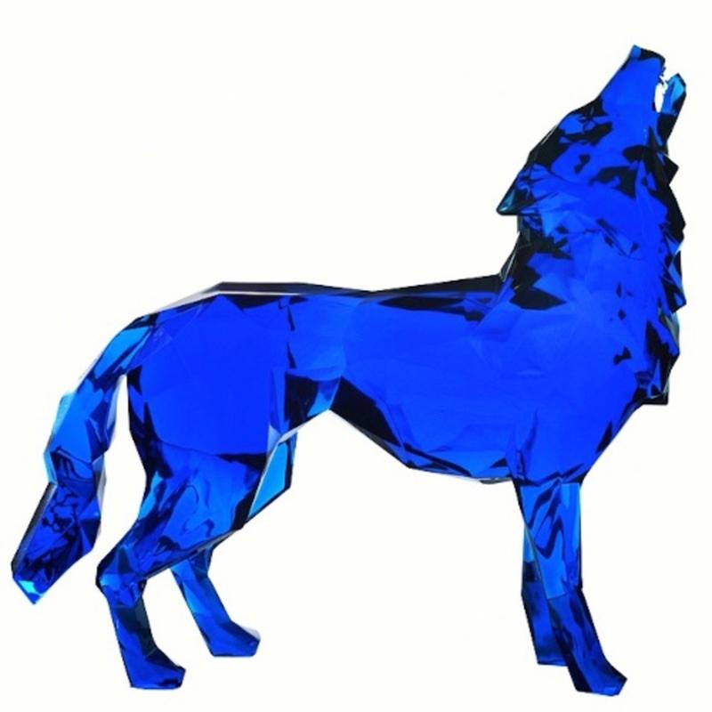Richard ORLINSKI - Sculpture-Volume - Loup hurlant - Screaming wolf - Blue crystal
