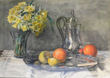 Hubert CRESPEL - Dibujo Acuarela - Still Life with Daffodils and Silver Tea Pot