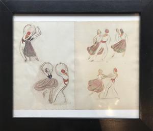 Jean TARGET - Drawing-Watercolor - Danses basques - Euskal dantzak  - basque